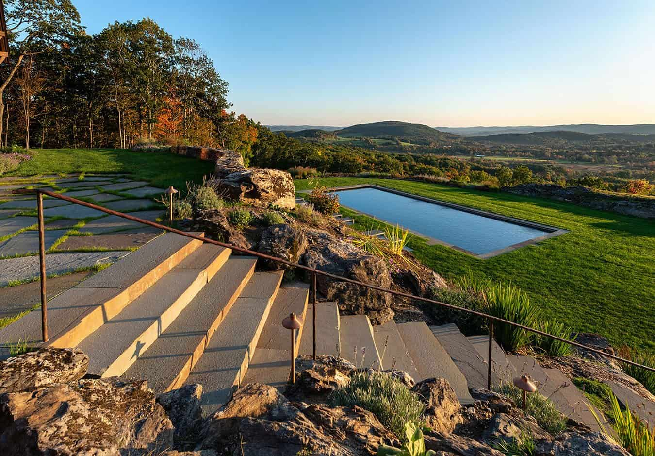 Taconic Lodge exterior pools and steps by UCE Fine Builders