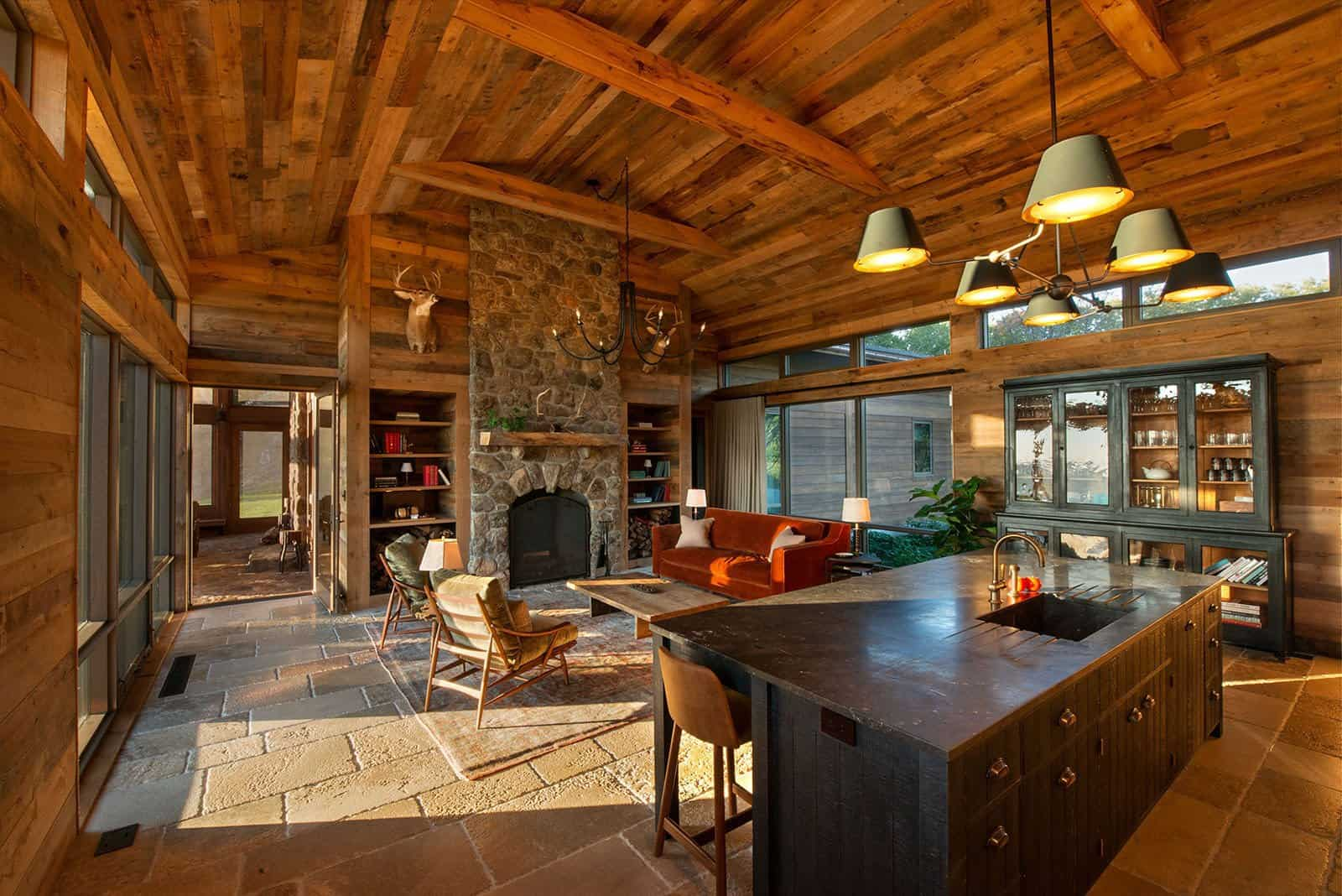 Taconic Lodge kitchen and living room by UCE Fine Builders