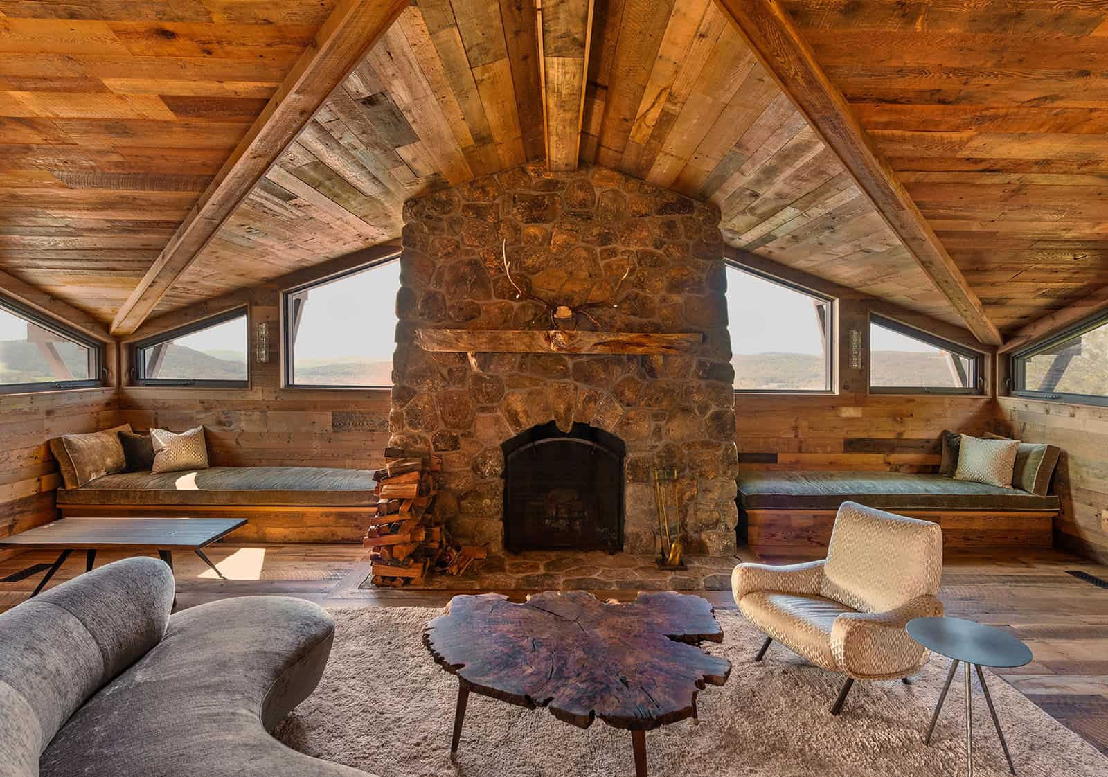 Taconic Lodge fireplace by UCE Fine Builders